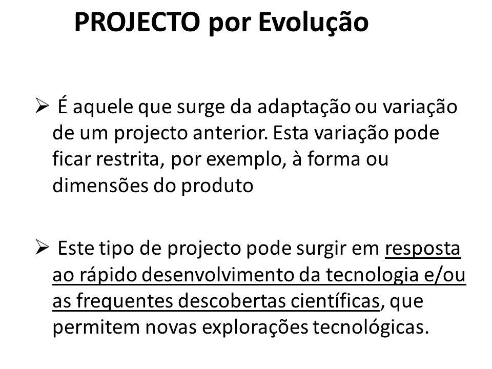 PROJECTO por Evolução É aquele que surge da adaptação ou variação de um projecto anterior. Esta variação pode ficar restrita, por exemplo, à forma ou