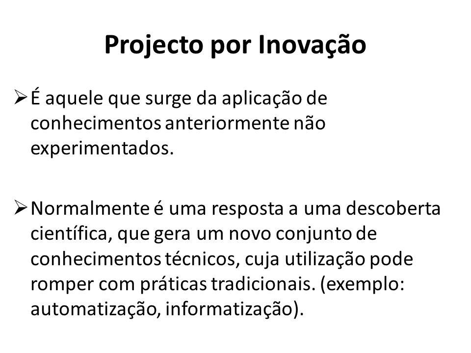 Projecto por Inovação É aquele que surge da aplicação de conhecimentos anteriormente não experimentados. Normalmente é uma resposta a uma descoberta c