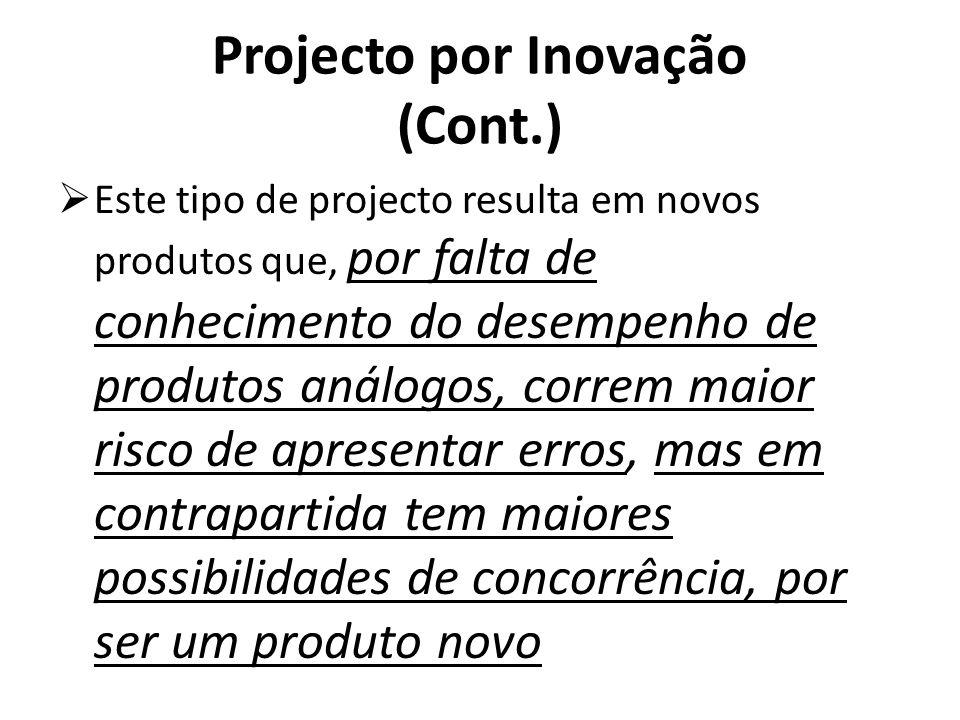 Projecto por Inovação (Cont.) Este tipo de projecto resulta em novos produtos que, por falta de conhecimento do desempenho de produtos análogos, corre