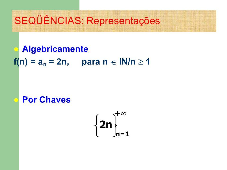 Algebricamente f(n) = a n = 2n, para n lΝ/n 1 Por Chaves SEQÜÊNCIAS: Representações + 2n n=1