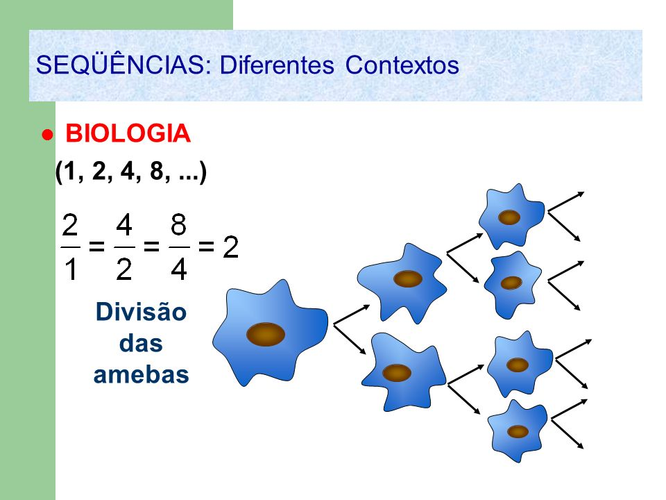 BIOLOGIA (1, 2, 4, 8,...) SEQÜÊNCIAS: Diferentes Contextos Divisão das amebas