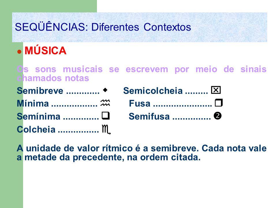 MÚSICA Os sons musicais se escrevem por meio de sinais chamados notas Semibreve............. Semicolcheia......... Mínima.................. Fusa......
