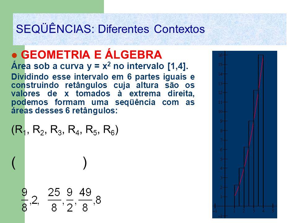 GEOMETRIA E ÁLGEBRA Área sob a curva y = x 2 no intervalo [1,4]. Dividindo esse intervalo em 6 partes iguais e construindo retângulos cuja altura são