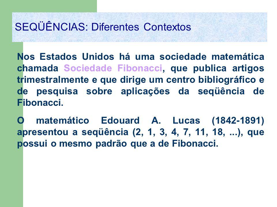 Nos Estados Unidos há uma sociedade matemática chamada Sociedade Fibonacci, que publica artigos trimestralmente e que dirige um centro bibliográfico e