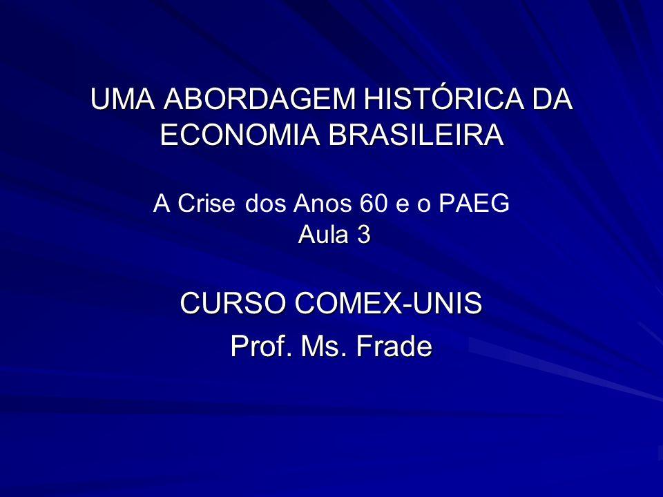 UMA ABORDAGEM HISTÓRICA DA ECONOMIA BRASILEIRA Aula 3 UMA ABORDAGEM HISTÓRICA DA ECONOMIA BRASILEIRA A Crise dos Anos 60 e o PAEG Aula 3 CURSO COMEX-U