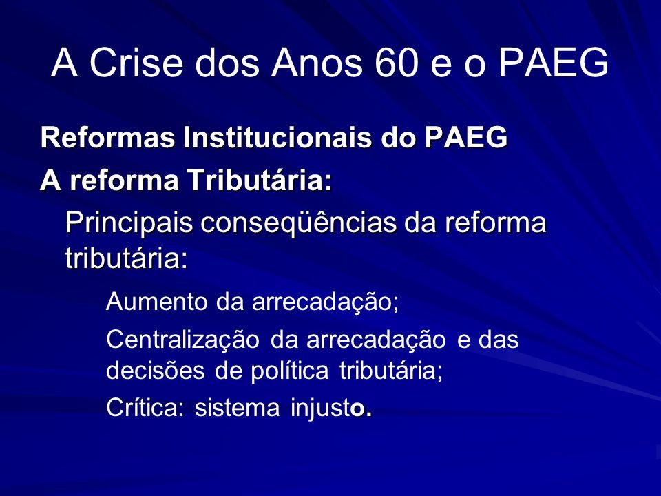 A Crise dos Anos 60 e o PAEG Reformas Institucionais do PAEG A reforma Tributária: Principais conseqüências da reforma tributária: Aumento da arrecada