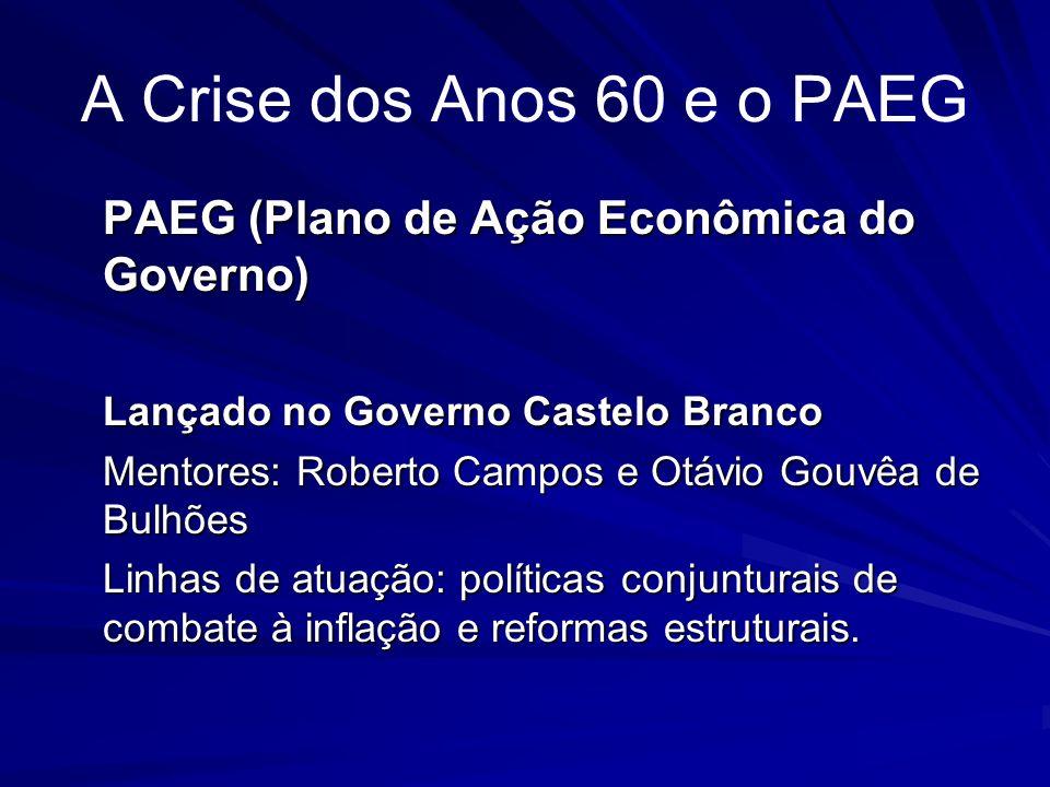 A Crise dos Anos 60 e o PAEG PAEG (Plano de Ação Econômica do Governo) Lançado no Governo Castelo Branco Mentores: Roberto Campos e Otávio Gouvêa de B