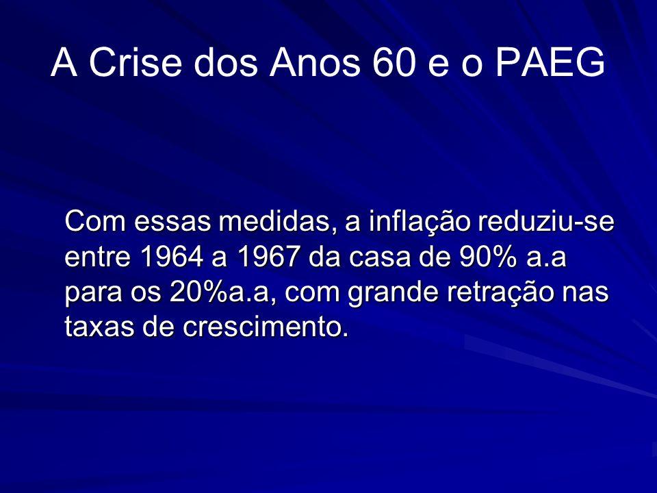 A Crise dos Anos 60 e o PAEG Com essas medidas, a inflação reduziu-se entre 1964 a 1967 da casa de 90% a.a para os 20%a.a, com grande retração nas tax