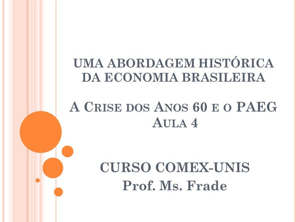 UMA ABORDAGEM HISTÓRICA DA ECONOMIA BRASILEIRA A C RISE DOS A NOS 60 E O PAEG A ULA 4 CURSO COMEX-UNIS Prof. Ms. Frade
