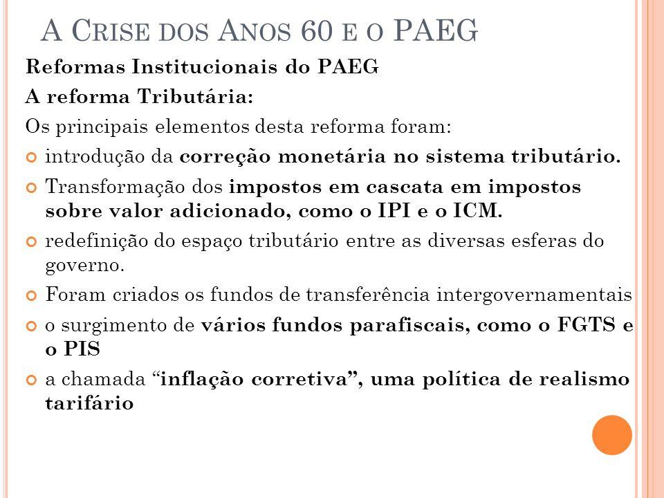 A C RISE DOS A NOS 60 E O PAEG Reformas Institucionais do PAEG A reforma Tributária: Os principais elementos desta reforma foram: introdução da correç
