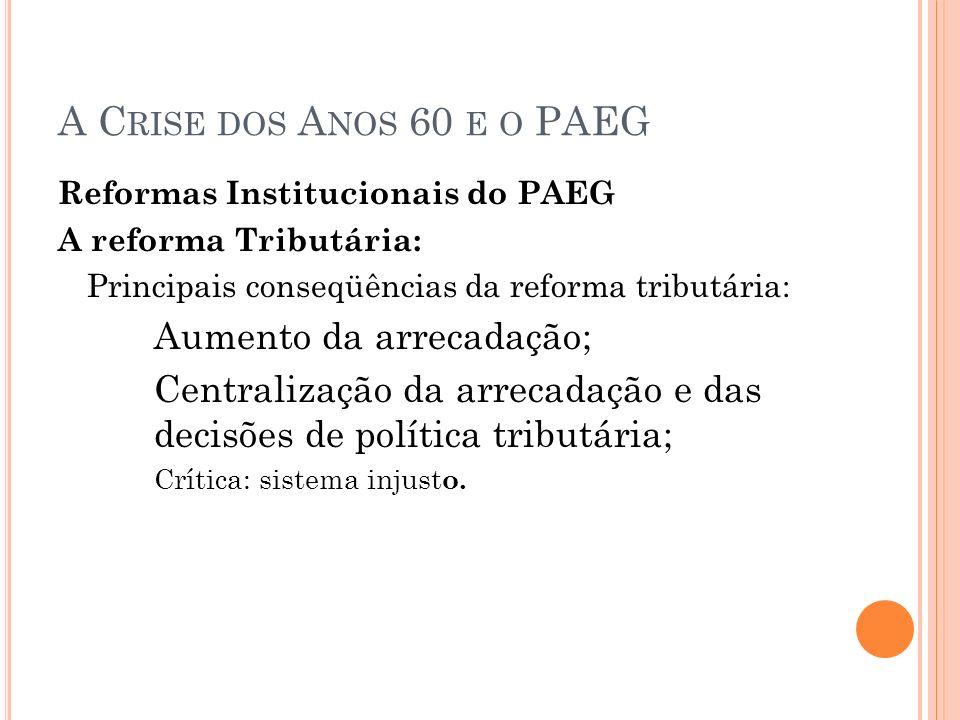 A C RISE DOS A NOS 60 E O PAEG Reformas Institucionais do PAEG A reforma Tributária: Principais conseqüências da reforma tributária: Aumento da arreca