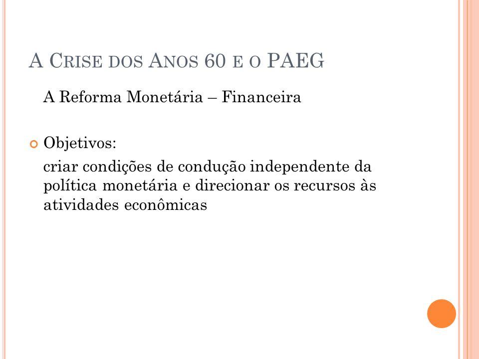 A C RISE DOS A NOS 60 E O PAEG A Reforma Monetária – Financeira Objetivos: criar condições de condução independente da política monetária e direcionar