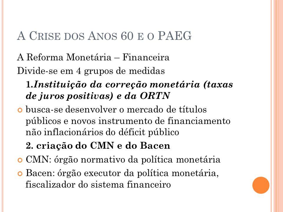 A C RISE DOS A NOS 60 E O PAEG A Reforma Monetária – Financeira Divide-se em 4 grupos de medidas 1.Instituição da correção monetária (taxas de juros p