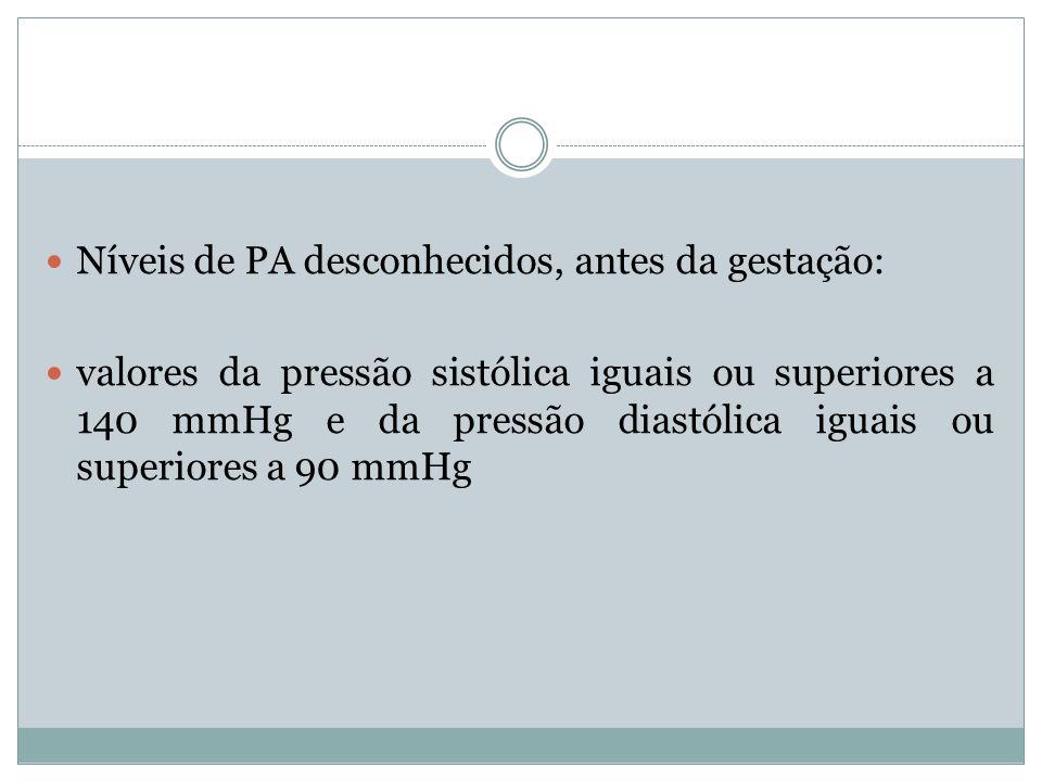 Níveis de PA desconhecidos, antes da gestação: valores da pressão sistólica iguais ou superiores a 140 mmHg e da pressão diastólica iguais ou superior