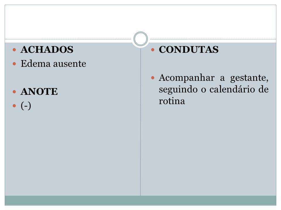 ACHADOS Edema ausente ANOTE (-) CONDUTAS Acompanhar a gestante, seguindo o calendário de rotina