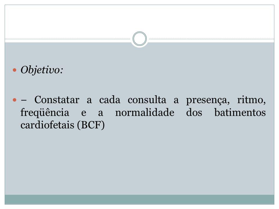 Objetivo: Constatar a cada consulta a presença, ritmo, freqüência e a normalidade dos batimentos cardiofetais (BCF)