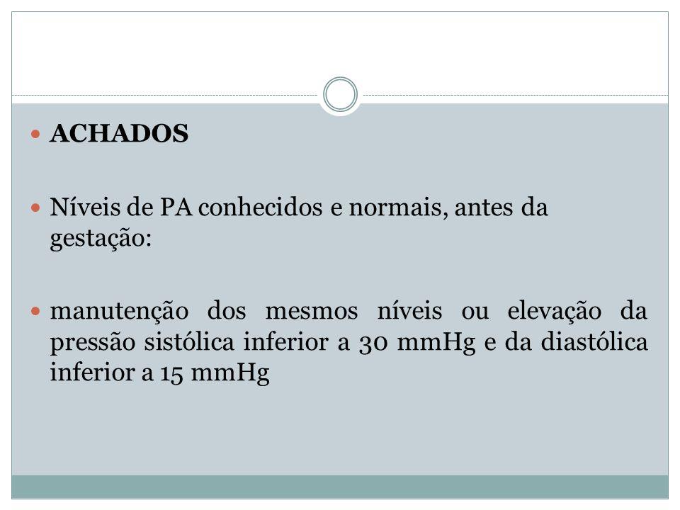 ACHADOS Níveis de PA conhecidos e normais, antes da gestação: manutenção dos mesmos níveis ou elevação da pressão sistólica inferior a 30 mmHg e da di