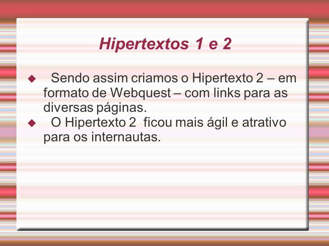 Hipertextos 1 e 2 Sendo assim criamos o Hipertexto 2 – em formato de Webquest – com links para as diversas páginas. O Hipertexto 2 ficou mais ágil e a
