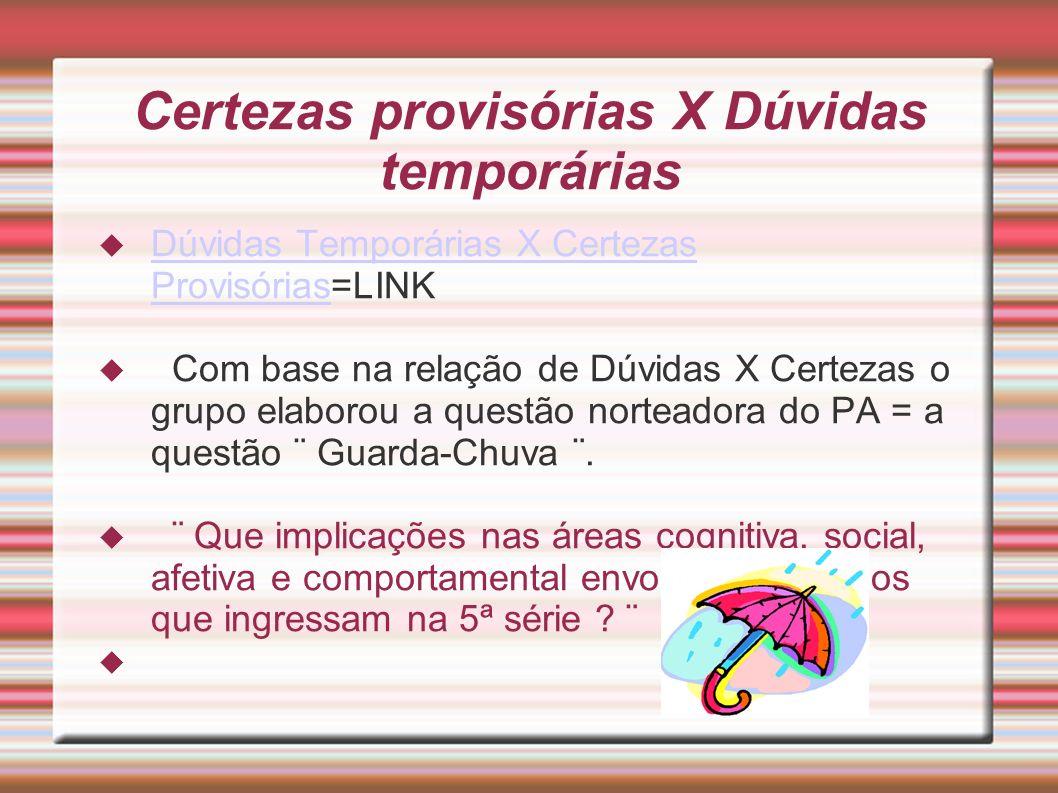 Certezas provisórias X Dúvidas temporárias Dúvidas Temporárias X Certezas Provisórias=LINK Dúvidas Temporárias X Certezas Provisórias Com base na rela
