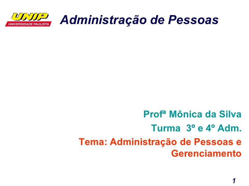 Administração de Pessoas 1 Profª Mônica da Silva Turma 3º e 4º Adm. Tema: Administração de Pessoas e Gerenciamento