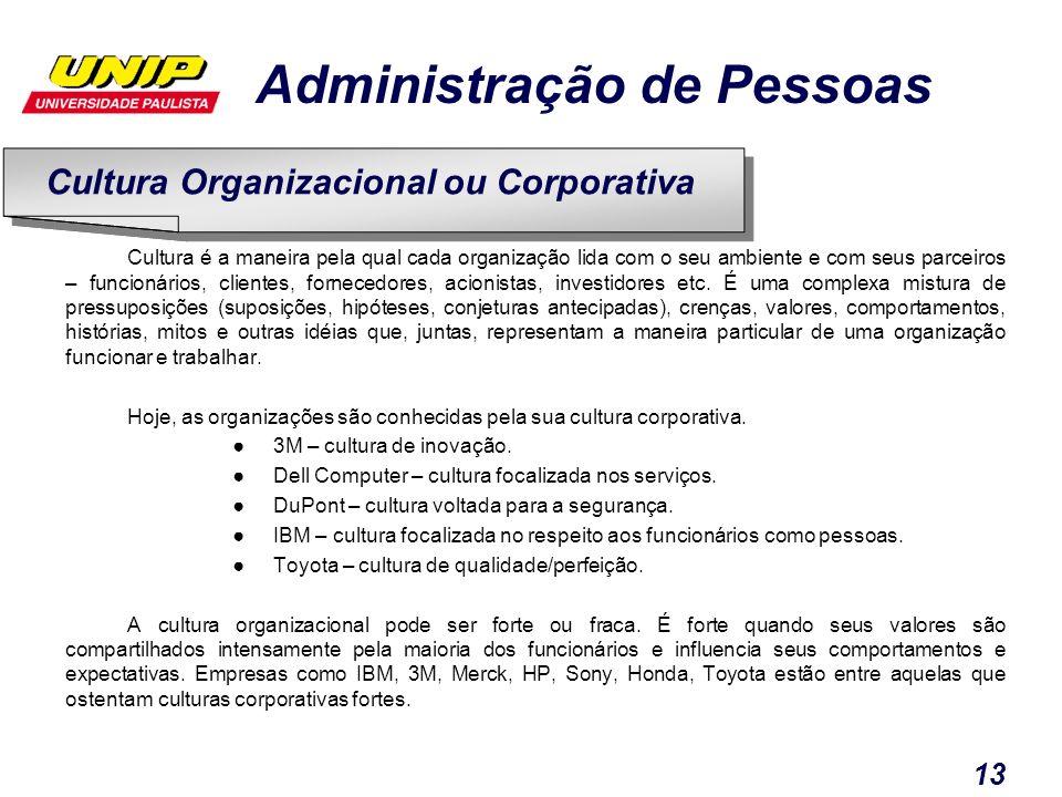 Administração de Pessoas 13 Cultura é a maneira pela qual cada organização lida com o seu ambiente e com seus parceiros – funcionários, clientes, forn
