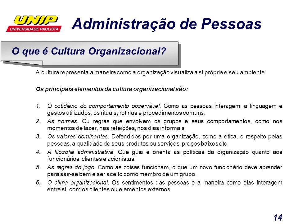 Administração de Pessoas 14 A cultura representa a maneira como a organização visualiza a si própria e seu ambiente. Os principais elementos da cultur