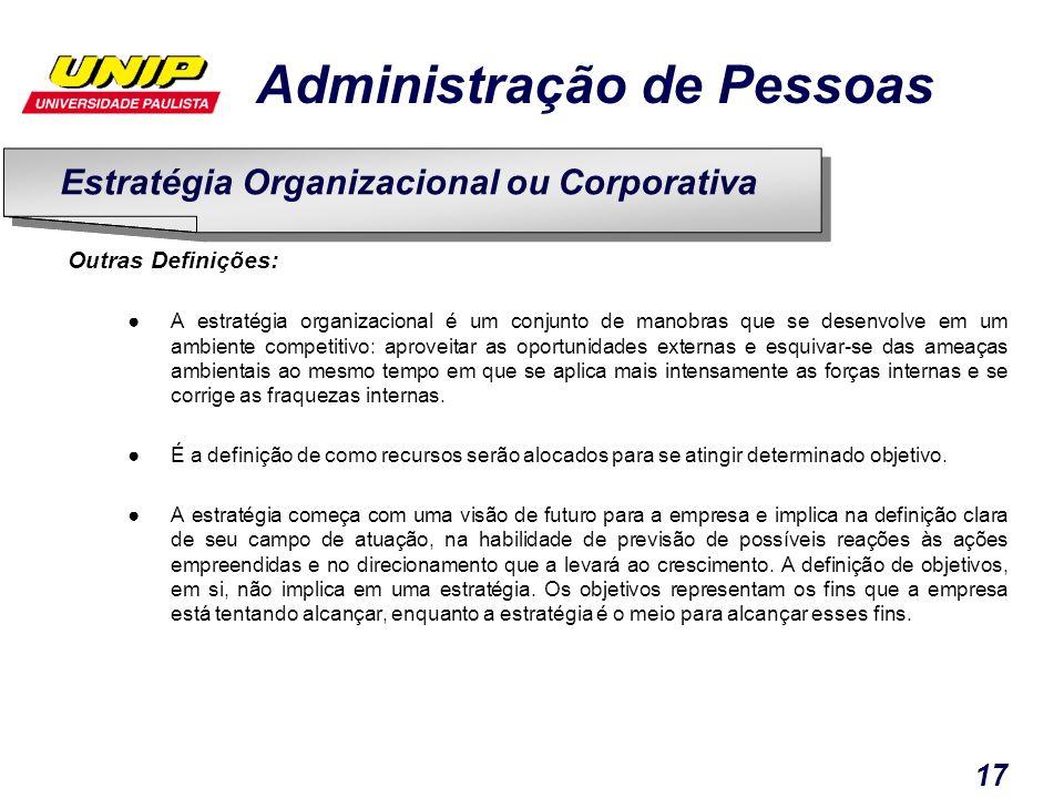 Administração de Pessoas 17 Outras Definições: A estratégia organizacional é um conjunto de manobras que se desenvolve em um ambiente competitivo: apr
