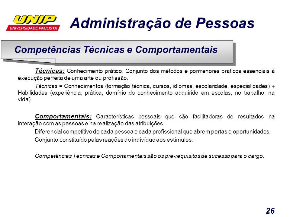 Administração de Pessoas 26 Técnicas: Conhecimento prático. Conjunto dos métodos e pormenores práticos essenciais à execução perfeita de uma arte ou p