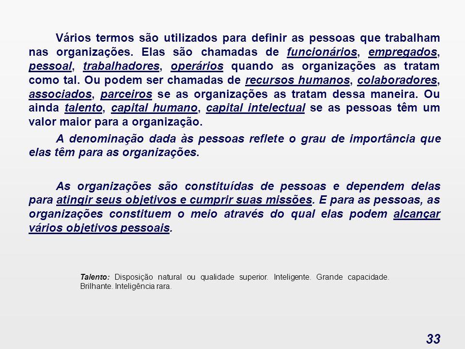 Administração de Pessoas 33 Vários termos são utilizados para definir as pessoas que trabalham nas organizações. Elas são chamadas de funcionários, em
