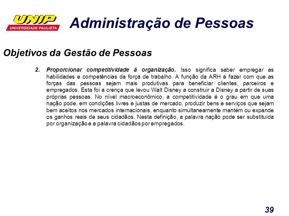 Administração de Pessoas 39 Objetivos da Gestão de Pessoas 2.Proporcionar competitividade à organização. Isso significa saber empregar as habilidades