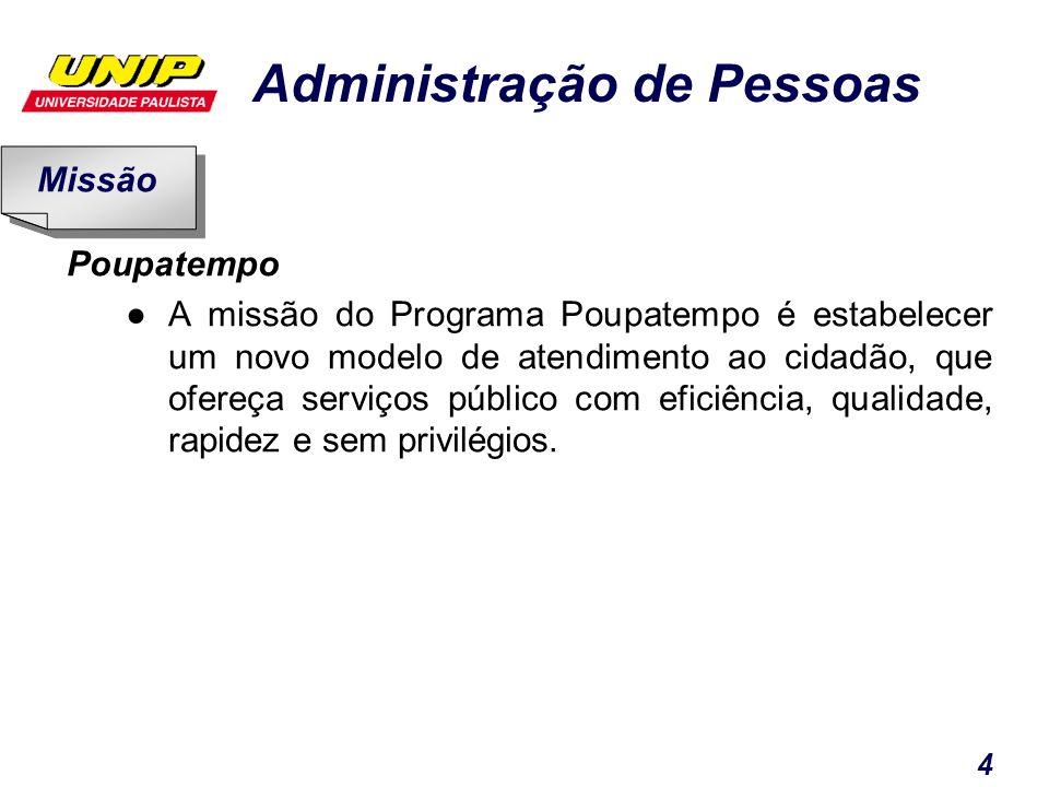Administração de Pessoas 4 Poupatempo A missão do Programa Poupatempo é estabelecer um novo modelo de atendimento ao cidadão, que ofereça serviços púb