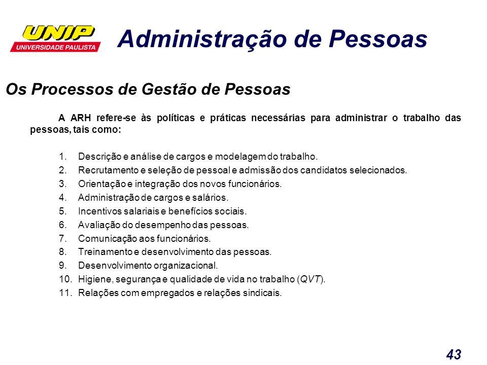 Administração de Pessoas 43 Os Processos de Gestão de Pessoas A ARH refere-se às políticas e práticas necessárias para administrar o trabalho das pess