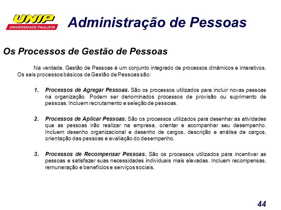 Administração de Pessoas 44 Os Processos de Gestão de Pessoas Na verdade, Gestão de Pessoas é um conjunto integrado de processos dinâmicos e interativ