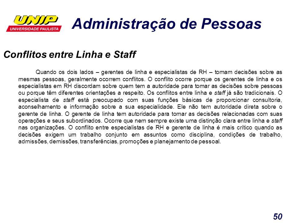 Administração de Pessoas 50 Conflitos entre Linha e Staff Quando os dois lados – gerentes de linha e especialistas de RH – tomam decisões sobre as mes