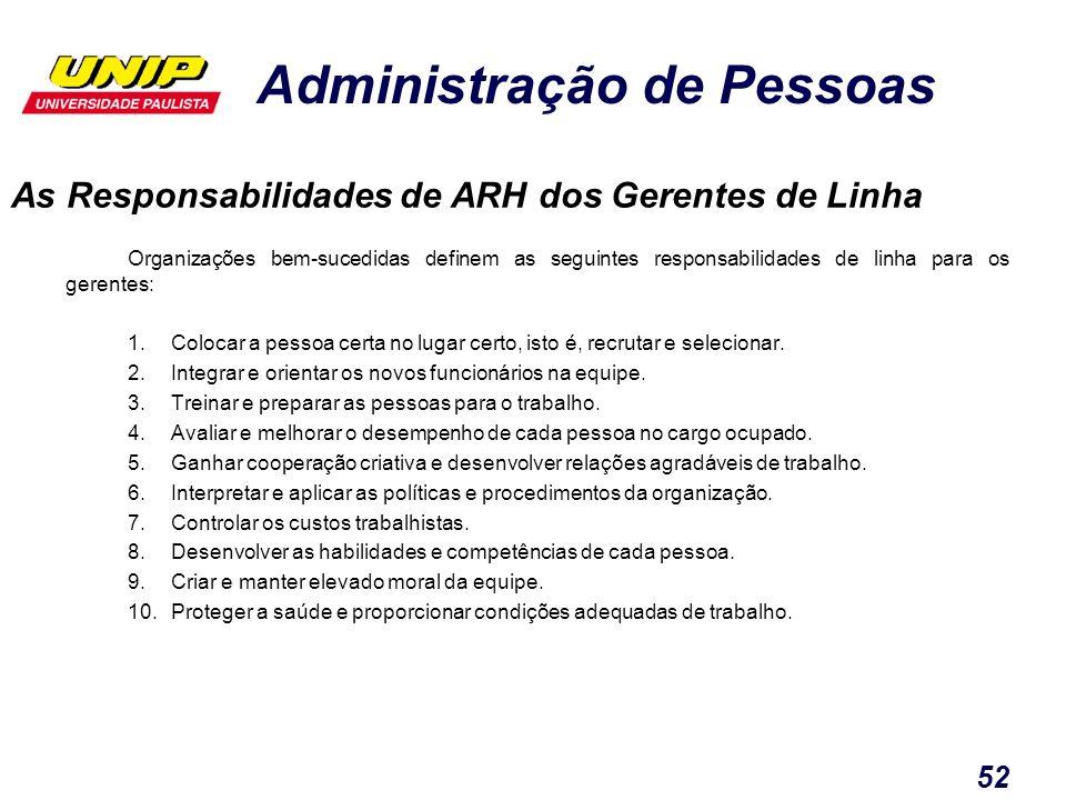 Administração de Pessoas 52 As Responsabilidades de ARH dos Gerentes de Linha Organizações bem-sucedidas definem as seguintes responsabilidades de lin