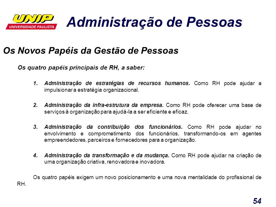 Administração de Pessoas 54 Os Novos Papéis da Gestão de Pessoas Os quatro papéis principais de RH, a saber: 1.Administração de estratégias de recurso