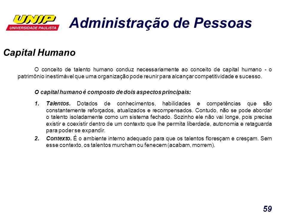 Administração de Pessoas 59 Capital Humano O conceito de talento humano conduz necessariamente ao conceito de capital humano - o patrimônio inestimáve