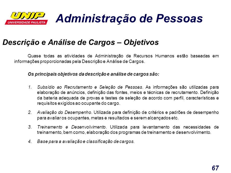 Administração de Pessoas 67 Quase todas as atividades de Administração de Recursos Humanos estão baseadas em informações proporcionadas pela Descrição