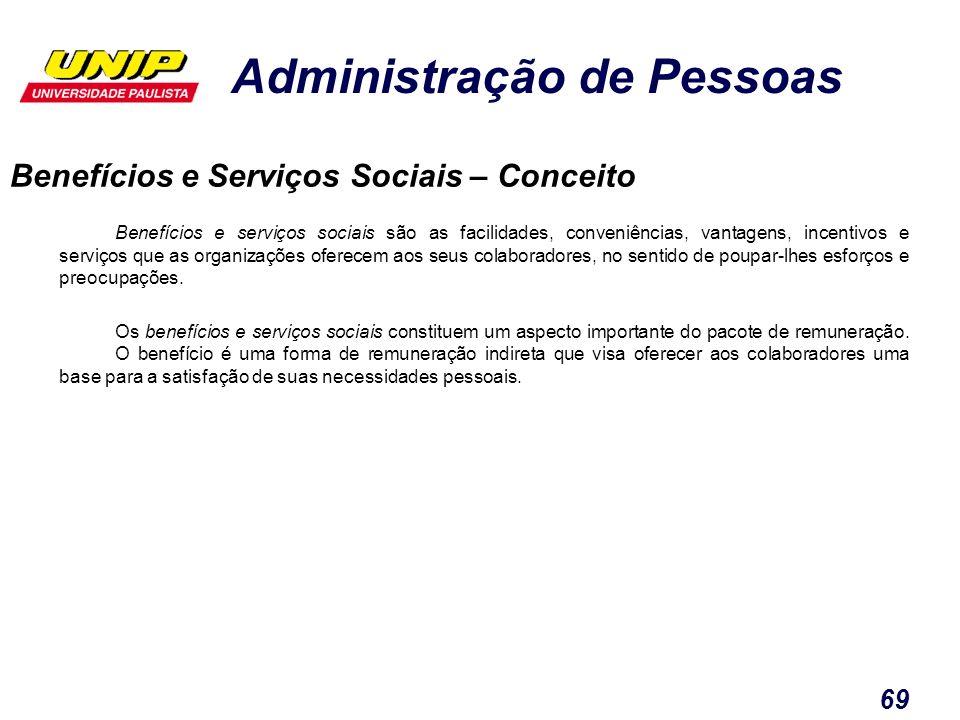 Administração de Pessoas 69 Benefícios e serviços sociais são as facilidades, conveniências, vantagens, incentivos e serviços que as organizações ofer