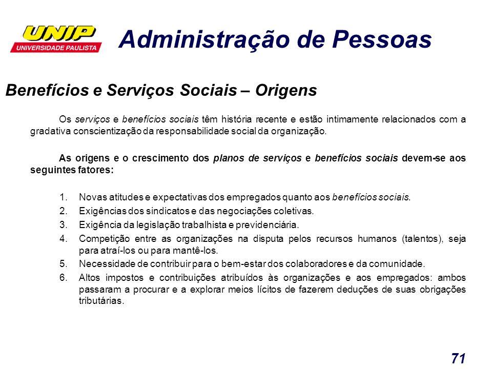 Administração de Pessoas 71 Os serviços e benefícios sociais têm história recente e estão intimamente relacionados com a gradativa conscientização da
