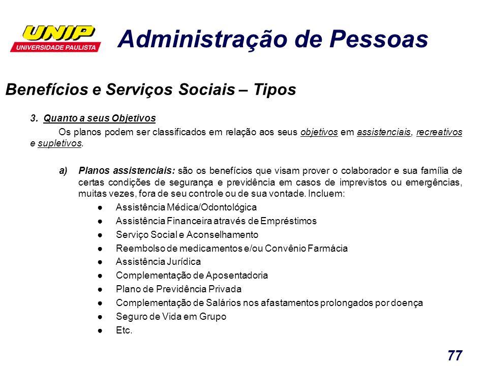 Administração de Pessoas 77 3. Quanto a seus Objetivos Os planos podem ser classificados em relação aos seus objetivos em assistenciais, recreativos e
