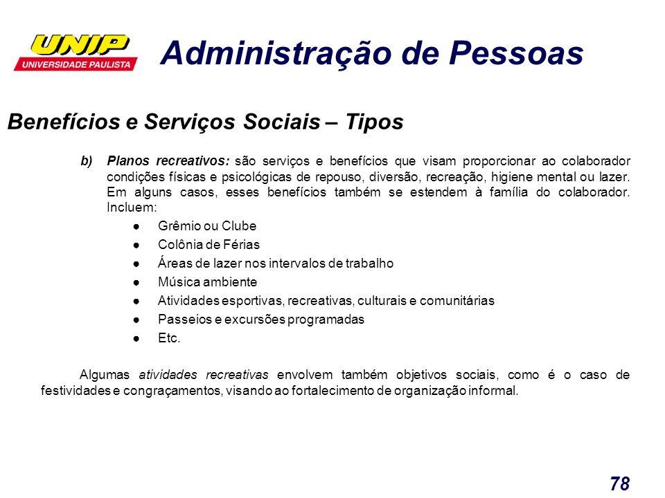 Administração de Pessoas 78 b)Planos recreativos: são serviços e benefícios que visam proporcionar ao colaborador condições físicas e psicológicas de