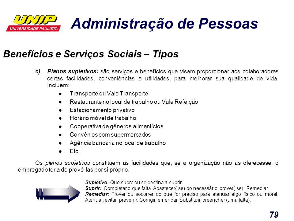 Administração de Pessoas 79 c)Planos supletivos: são serviços e benefícios que visam proporcionar aos colaboradores certas facilidades, conveniências