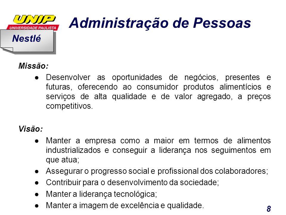 Administração de Pessoas 8 Missão: Desenvolver as oportunidades de negócios, presentes e futuras, oferecendo ao consumidor produtos alimentícios e ser