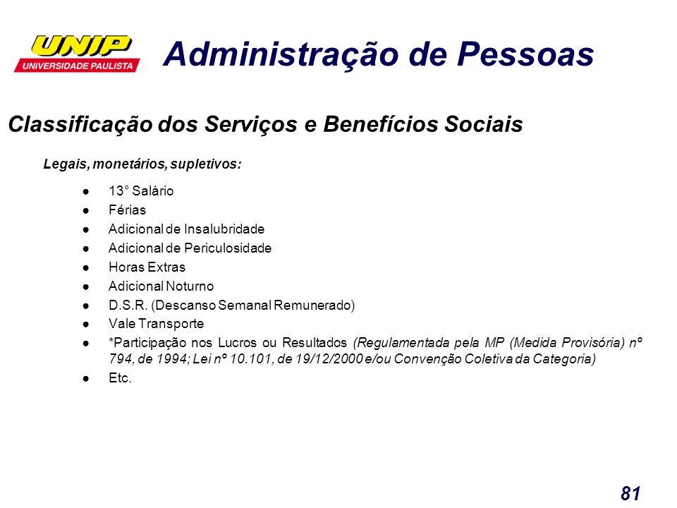 Administração de Pessoas 81 Classificação dos Serviços e Benefícios Sociais Legais, monetários, supletivos: 13° Salário Férias Adicional de Insalubrid