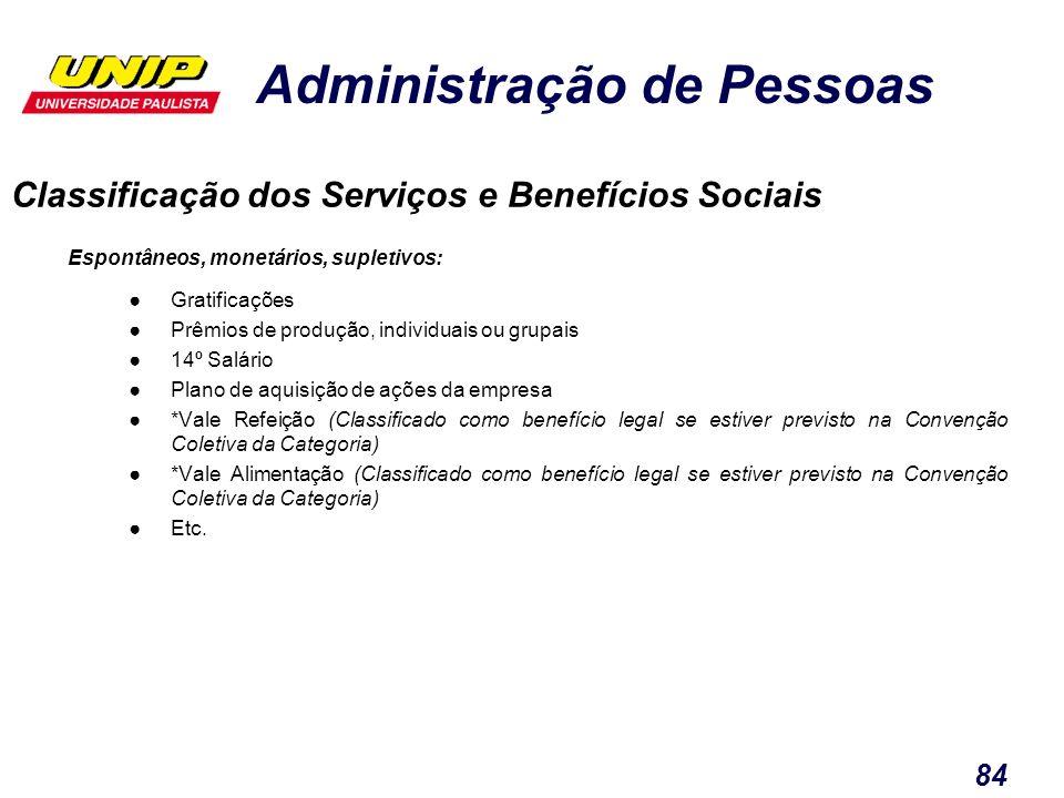 Administração de Pessoas 84 Classificação dos Serviços e Benefícios Sociais Espontâneos, monetários, supletivos: Gratificações Prêmios de produção, in