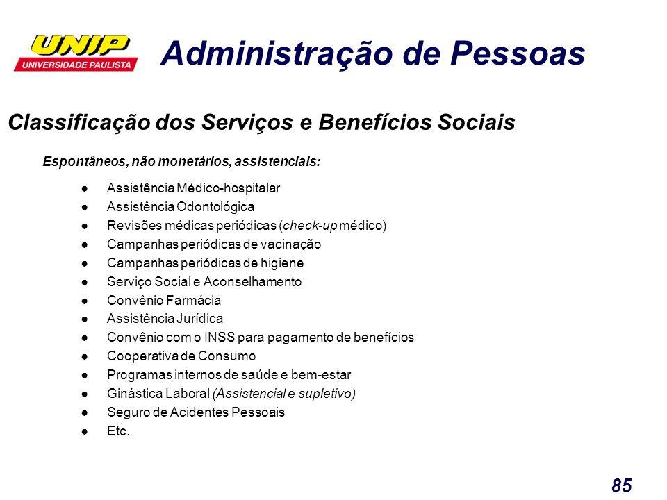 Administração de Pessoas 85 Classificação dos Serviços e Benefícios Sociais Espontâneos, não monetários, assistenciais: Assistência Médico-hospitalar