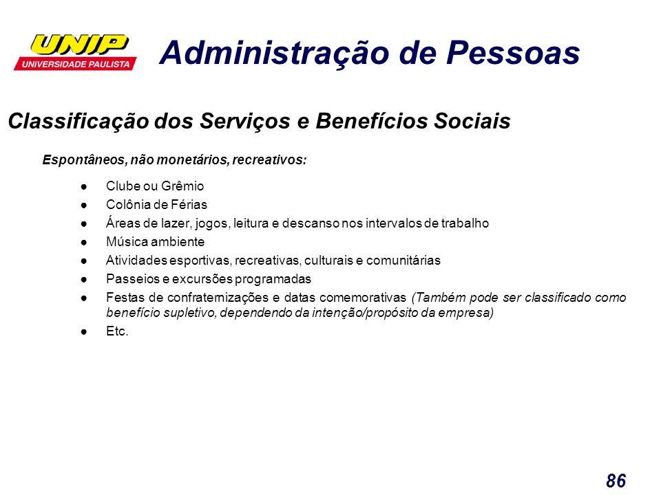 Administração de Pessoas 86 Classificação dos Serviços e Benefícios Sociais Espontâneos, não monetários, recreativos: Clube ou Grêmio Colônia de Féria