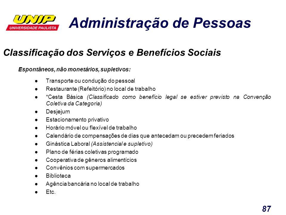 Administração de Pessoas 87 Classificação dos Serviços e Benefícios Sociais Espontâneos, não monetários, supletivos: Transporte ou condução do pessoal