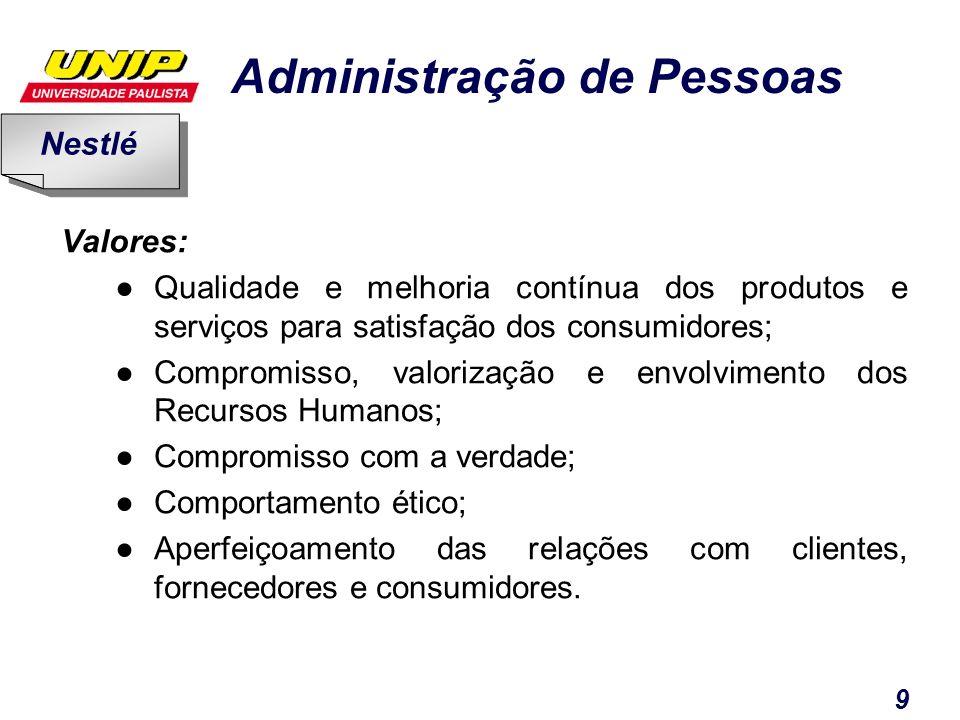 Administração de Pessoas 9 Valores: Qualidade e melhoria contínua dos produtos e serviços para satisfação dos consumidores; Compromisso, valorização e